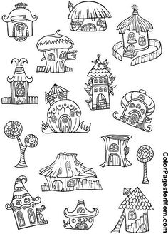 Pixie Houses Coloring Page