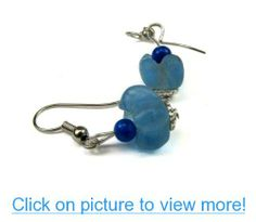 Ghana Recycled Blue Glass Cup Bead Dangle Earrings, Accented with Jade