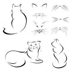 Cat Drawing, Line Drawing, Cat Tattoo Designs, Abstract Lines, Mini Tattoos, Cat Art, Tatoos, Sketches, Photoshop