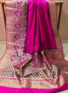 wedding saree and wedding saree indian Banarasi silk weving saree, pink saree, gold sa Silk Saree Banarasi, Organza Saree, Soft Silk Sarees, Cotton Saree, Cotton Silk, Georgette Sarees, Grey Saree, Pink Saree, Beautiful Blouses