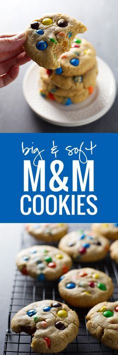 M & M cookies: These are soft cookie recipes. Better then the expensive ones in the store. M & M cookies: These are soft cookie recipes. Better then the expensive ones in the store. Cookie Desserts, Just Desserts, Cookie Recipes, Delicious Desserts, Dessert Recipes, Yummy Food, Soft Cookie Recipe, Favorite Cookie Recipe, Favorite Recipes