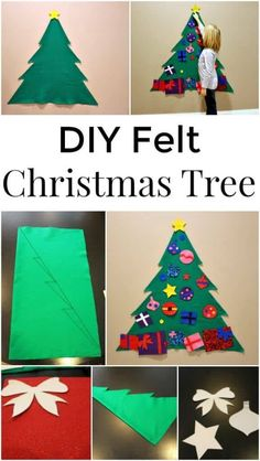 Diy felt christmas tree - a great holiday craft for kids crafts and p Diy Felt Christmas Tree, Christmas Trees For Kids, Holiday Crafts For Kids, Preschool Christmas, Noel Christmas, Christmas Activities, Xmas Crafts, Christmas Projects, All Things Christmas