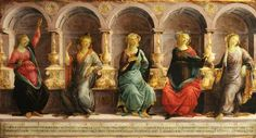Five Sibyls Seated in Niches: The Babylonian, Libyan, Delphic, Cimmerian, and Erythraean by studio of Sandro Botticelli  c. 1472- 1475 oil on panel collection of Christ Church, University of Oxford