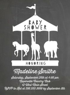 Carousel Cutout - Baby Shower Invitations in Black | Baumbirdy