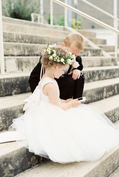 Flower girl on an iPhone: http://www.stylemepretty.com/texas-weddings/austin/2015/01/29/downtown-austin-wedding-at-the-intercontinental-stephen-f-austin/ | Photography: Loft Photographie - http://loftphotographie.com/