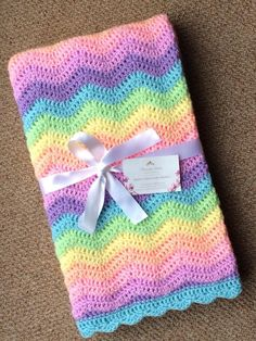 Custom Crochet Ripple Baby Blankets for a boy or girl -perfect baby shower gift. Cot Blankets, Knitted Baby Blankets, Baby Girl Blankets, Crochet Ripple Blanket, Baby Knitting, Baby Shower Gifts, Boy Or Girl, Free Pattern, Boy Crochet