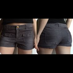 """Roxy Shorts courderoys Brown Dark Grey Purple -Grey corduroy shorts size 5 (might have a purplish tint, I can't really tell, I think it's just grey).  *I am size 3 in shorts and they fit but a little loose on the waist so I think they are like 4/5. Waist about 30-32"""" and leg opening about 20-22"""" around. Roxy Shorts Jean Shorts"""