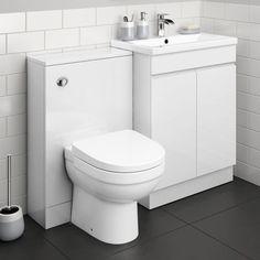 Bathroom Fitted Furniture White Gloss New athens Gloss White Bined Vanity Unit Short Projection Bathroom Sink Units, Diy Bathroom Vanity, Bathroom Toilets, Simple Bathroom, Modern Bathroom Design, Bathroom Furniture, Furniture Storage, Bathroom Ideas, Bathroom Inspiration