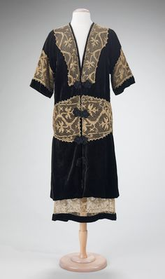 """Evening Suit, Attributed to Madame Marie Gerber (French) for Callot Soeurs (French, active 1895–1937): ca. 1920, French (probably), silk, cotton. """"Rita de Acosta Lydig (1880-1929) was a noted beauty and style icon of the early twentieth century and the owner this garment attributed to Callot Soeurs. A great admirer and collector of lace, de Acosta Lydig patronized Callot Soeurs in appreciation of Madame Gerber's similar affinity for lace and her skillful use of antique trimmings."""""""