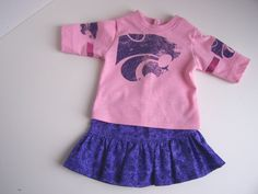 Pink Kansas State Wildcats Up-Cycled T-Shirt with Purple Sparkly Skirt - Fits 18 inch Girl dolls by AuntSissyOriginals on Etsy