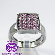 Elegant pink zircon silver ring by MinervaSilverJewelry on Etsy