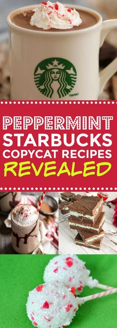These peppermint Starbucks copycat recipes are SO EASY!! I'm so happy I found these AMAZING homemade Starbucks recipes for frappuccinos, mochas, drinks, and bakery goodies to kick of the Christmas season! Can't wait to make at home!!Definitely pinning!