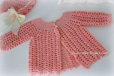 #Crochet baby sweater free vintage pattern from Lacy Crochet