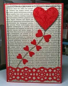 handmade Valentine card ... heart as a kite with little heart balancers ... lu the idea and the look on book page printed paper ... Stampin' Up!