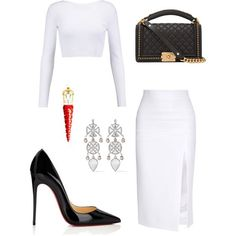 A fashion look from November 2017 featuring white shirt, Cushnie Et Ochs and christian louboutin pumps. Browse and shop related looks. Lila Outfits, Classy Outfits, Stylish Outfits, Beautiful Outfits, Girl Fashion, Fashion Outfits, Womens Fashion, Fashion Design, Polyvore Outfits