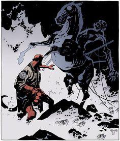Mike Mignola draws a Nuckelavee! Comic Book Pages, Comic Book Artists, Comic Artist, Comic Books Art, Mike Mignola Art, Comic Styles, Comic Covers, Illustrations, Art Reference