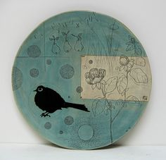 Bird platter by Diana Fayt / turquoise / ceramics / details