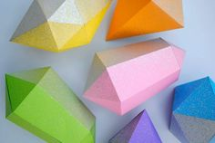 origami 3D gem shapes (tutorial + templates) - works well for costume prop details made out of foamie sheeting, too...not just for paper