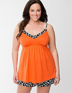 Perk up bedtime or a casual day at home with our bright cami PJ set in trendy giraffe print. The feminine cami hugs your shape just right with a banded V-neck, empire waist and adjustable straps to achieve your ideal fit. The coordinating printed shorts are soft and comfortable with a easy-wearing elastic waist and bright drawstring closure. lanebryant.com