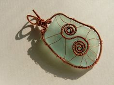 Wire Wrapped Sea glass pendant Genuine Sea glass Beach by Spti, $23.00