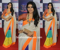 At the Viacom 18 Anniversary party, Sonali Kulkarni was spotted in a color block saree by Udd enhanced with a statement necklace from Syna's Collection and a brown toned clutch. Trendy Sarees, Stylish Sarees, Indian Attire, Indian Outfits, Wedding Saree Blouse, Saree Dress, Modern Saree, Saree Photoshoot, Indian Look