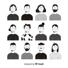 Hand drawn people avatar pack Vector | Free Download