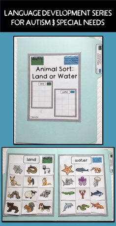 Sort pictures of 24 animals onto two category mats - animals that live on land and animals that live in water.  Great for file folder games, task boxes for autism, special education, early childhood, ELL, and language development.