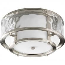 Progress P3942-09 - Two Light Brushed Nickel Distressed Clear Glass Outdoor Flush Mount