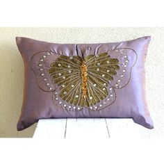 Embroidered Butterfly - 12x14 inches Decorative Pillow Covers - Rectangle Pillow Cover with Bead Embroidery by The HomeCentric, http://www.amazon.com/dp/B00D9SO5VU/ref=cm_sw_r_pi_dp_E2Fmsb0HY84CV