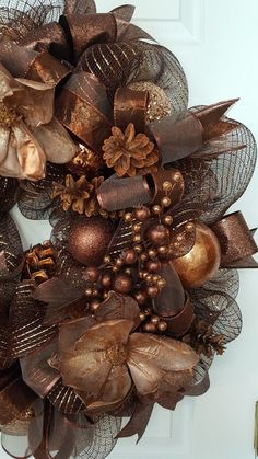 Brown tones, good for any time of year, including Fall. Save those pine cones for your wreaths. by marlas Brown tones, good for any time of year, including Fall. Save those pine cones for your wreaths. Elegant Fall Wreaths, Fall Mesh Wreaths, Fall Deco Mesh, Christmas Mesh Wreaths, Christmas Swags, Thanksgiving Wreaths, Gold Christmas, Deco Mesh Wreaths, Christmas Crafts