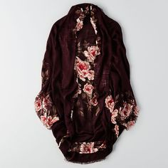 AE Floral Woven Kimono ($20) ❤ liked on Polyvore featuring intimates, robes, red, floral kimono robe, fringe robe, floral print kimono, red robe and fringe kimono