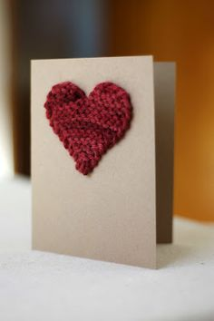 Paper craft Valentine's Day heart card - card stock and a heart from an old sweater.