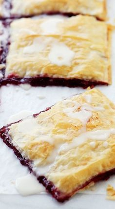 Phyllo Raspberry Pop Tarts - Pop Tarts made with Phyllo Dough Sheets and filled with a Raspberry Jam. Incredible! @pamgustafson for Christmas Day!