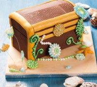 Deze schatkisttaart is perfect voor kinderverjaardagen of thema feestjes!