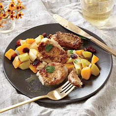 Pork Cutlets with Butternut Squash, Apple, and Cranberry Sauté Recipe | Cooking Light #myplate #protein #veggies #fruit #dairy