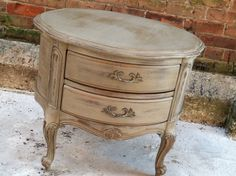 Shabby chic Parisian end table (Etsy):  Worn paint relaxes carving. I might replace pulls with forged iron ones.