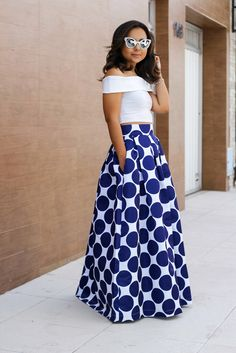 Maxi polka dot skirt and off the shoulder white top. Simple Dresses, Cute Dresses, Summer Dresses, Flare Dress, Dress Up, Africa Fashion, Women's Fashion, High Fashion Dresses, Afro