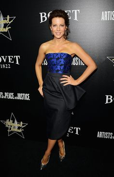 Kate Beckinsale did Dior proud in the label's blue and black cocktail dress while attending the Hollywood Domino Gala.