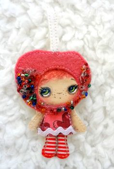 Candy Apple with Sparkles Art Doll Pin Brooch by Kelly Ann (The Poppy Tree)