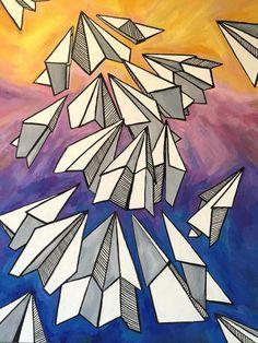 """""""Бумажные самолеты"""" 80х100 см, масло, тушь, холст Продолжение темы картины «Мечты», где бумажные самолеты выступают символом мечты, желаний и надежды. На картине самолеты выпустили на волю и они полетели вверх. И теперь не важно, куда они полетят – налево, направо или вверх. Это свобода. Свобода реализации, трансформации и достижения. Легкие, с налетом детского максимализма, простоты и формы..."""