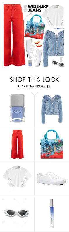 """""""Flare Up: Wide-Leg Jeans (casual)"""" by beebeely-look ❤ liked on Polyvore featuring Nails Inc., Topshop, Bliss and Mischief, Catherine Malandrino, MM6 Maison Margiela, casual, casualoutfit, denimtrend, widelegjeans and gamiss"""