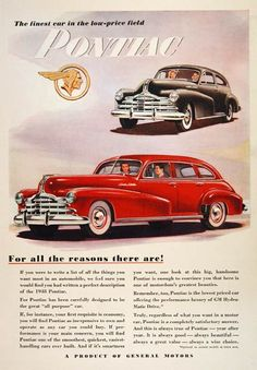 1948 Pontiac Silver Streak original vintage advertisement. Featuring the coupe and the sedan model offering the performance of GM Hydramatic Drive.