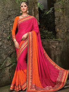 Magenta Orange Shaded Wedding Wear Jacquard Chiffon Saree