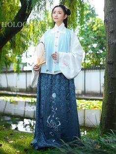 Hanfu White Autumn / winter Ming dynasty Women Jacket skirt Clothing