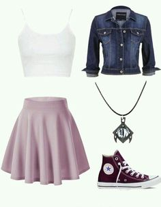 A fashion look from February 2016 featuring rib tank top, long jean jacket en mini skater skirt. Browse and shop related looks. Teenage Girl Outfits, Girls Fashion Clothes, Teenager Outfits, Teen Fashion Outfits, Swag Outfits, Girly Outfits, Simple Outfits, Cute Fashion, Stylish Outfits
