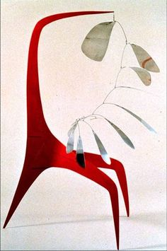 """Alexander Calder, """"Aluminum Leaves, Red Post"""", 1941, a stabile of sheet metal, wire, and paint,  61 x 61 in."""