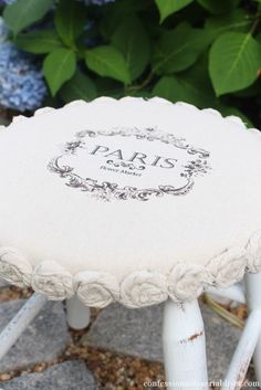 Mini Drop Cloth Rosette Stool Makeover {a $5 Yard Sale Find} + Beachy Decor + Cottage Home + Shabby + Cottage + French Farmhouse