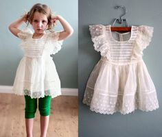 Lovely Vintage Pinafore Dress 50s 2/3 It's My Ivory Silk Chiffon Party FROCK by midstatevintage