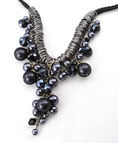 Grape Necklace with Cotton Cord and Metal Details