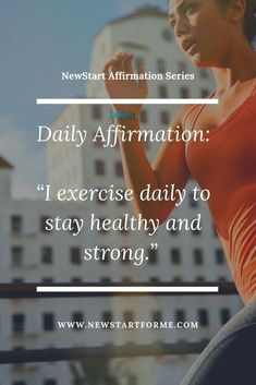 """Why do you stay active? To look hot in that dress? To add years to your life? NewStart Daily Affirmations: """"I Stay Active to Remain Healthy! Healthy Affirmations, Morning Affirmations, Positive Affirmations, Positive Quotes, Fitness Tips, Fitness Motivation, Exercise Motivation, Fitness Workouts, Journal Challenge"""